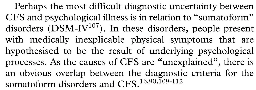 """Perhaps the most difficult diagnostic uncertainty between CFS and psychological illness is in relation to """"somatoform"""" disorders (DSM-IV107). In these disorders, people present with medically inexplicable physical symptoms that are hypothesised to be the result of underlying psychological processes. As the causes of CFS are """"unexplained"""", there is an obvious overlap between the diagnostic criteria for the somatoform disorders and CFS"""